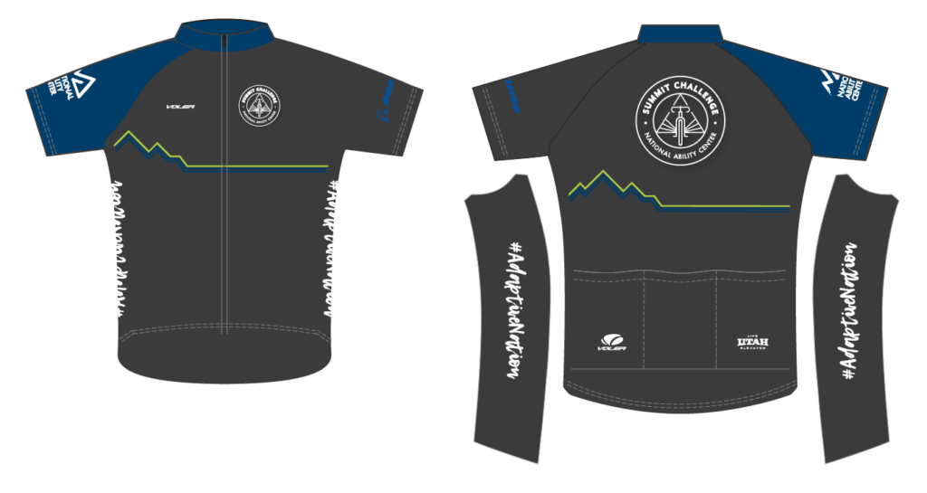 charcoal jersey with white summit challenge logo and blue sleeve with white NAC logo.